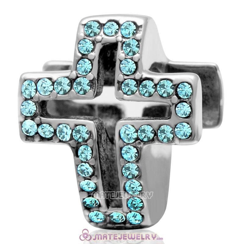 Spackly Christian Cross Charm 925 Sterling Silver with Aquamarine Crystal