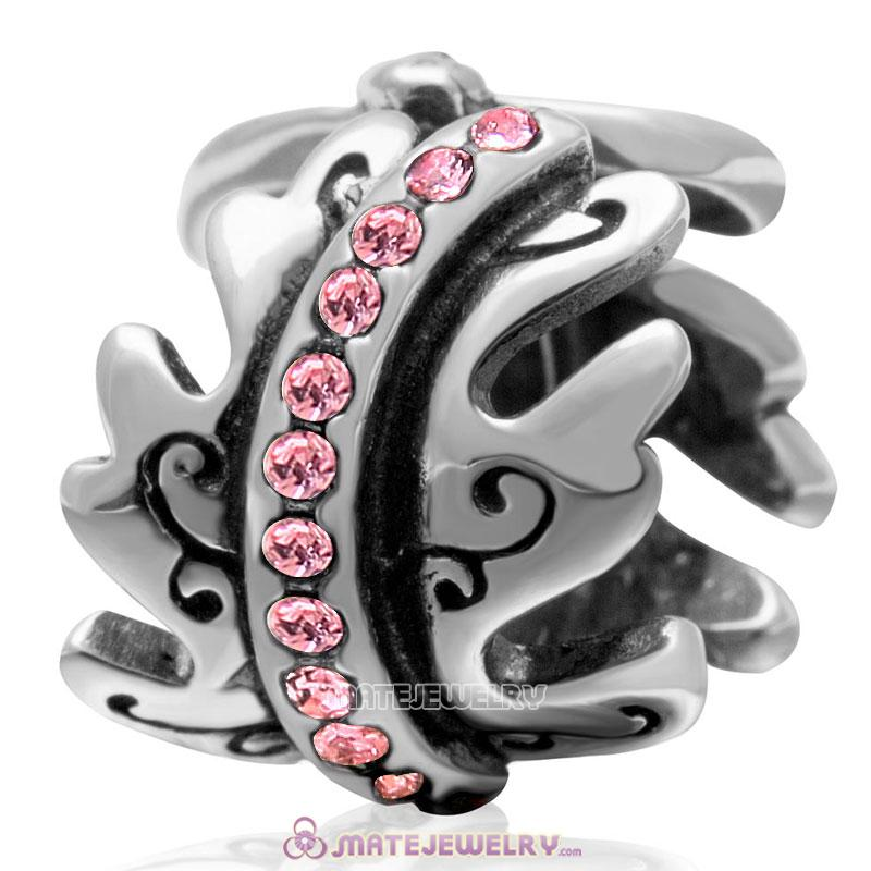 European October Birthstone Charm Spacer Lt Rose Crystal Bead 925 Silver