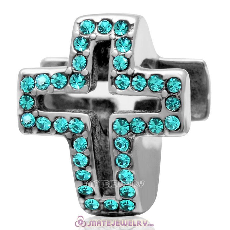 Spackly Christian Cross Charm 925 Sterling Silver with Blue Zircon Crystal