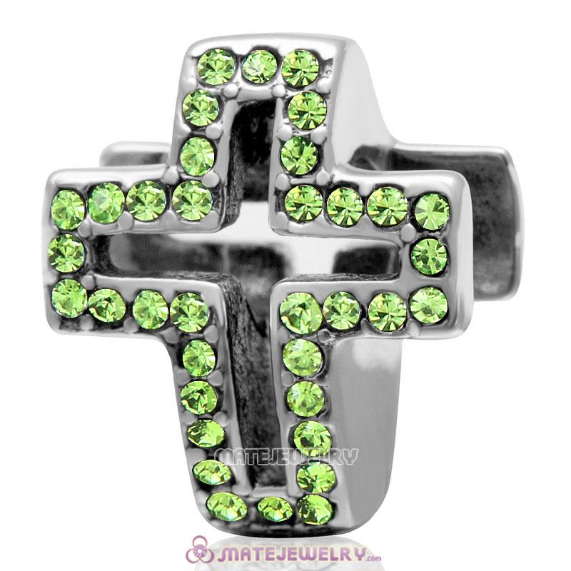 Spackly Christian Cross Charm 925 Sterling Silver with Peridot Crystal