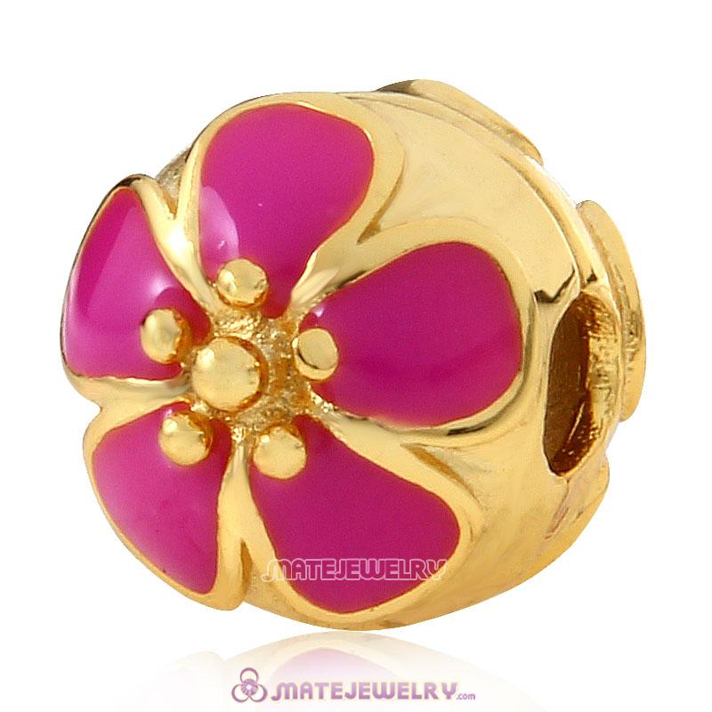 Gold Plated Sterling Silver Cherry Blossom Rose Enamel Clip Beads