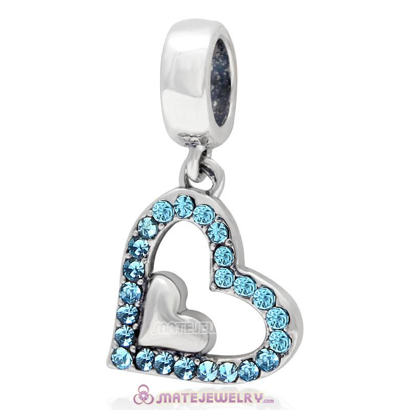 925 Sterling Silver Aquamarine Crystal Heart in Heart Pendant Charm