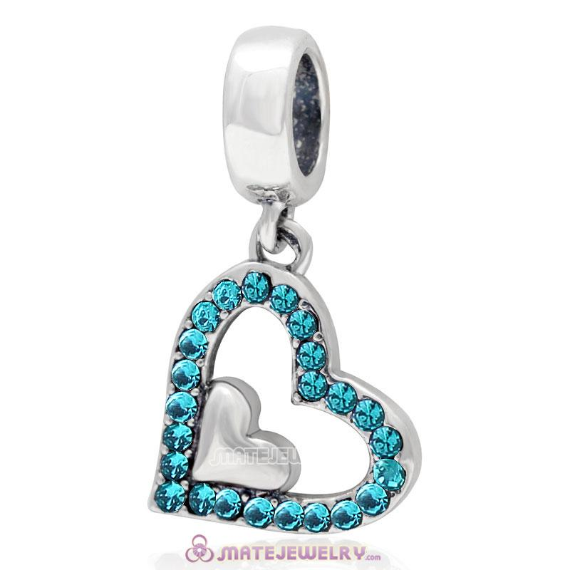 925 Sterling Silver Blue Zircon Crystal Heart in Heart Pendant Charm