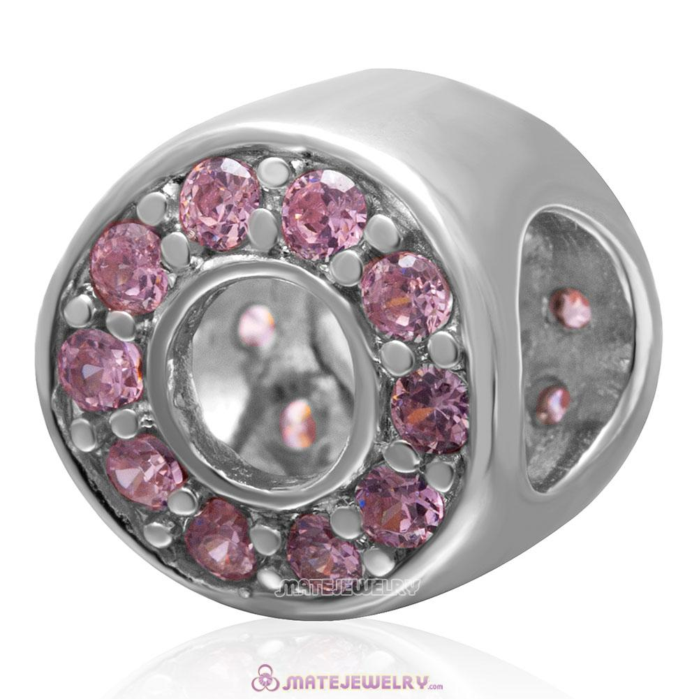 Pink CZ October Birthstone Charm 925 Sterling Silver Bead