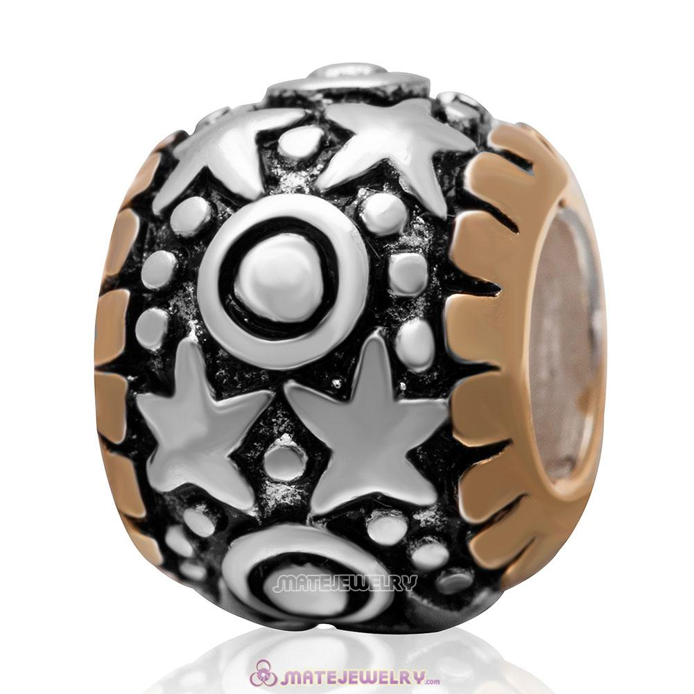 Gold Plated Star Charm European Bead in 925 Sterling Silver