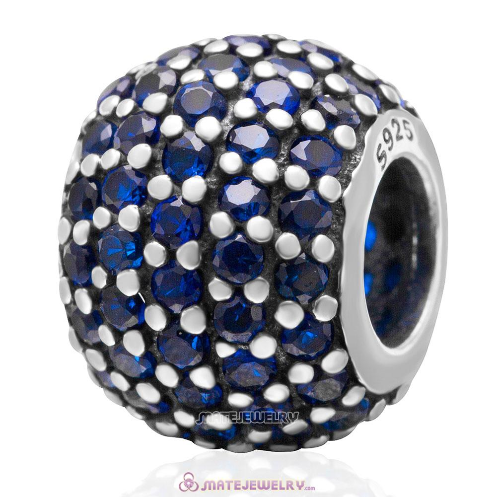 Blue Pave Lights with Sapphire CZ Charm 925 Sterling Silver Bead