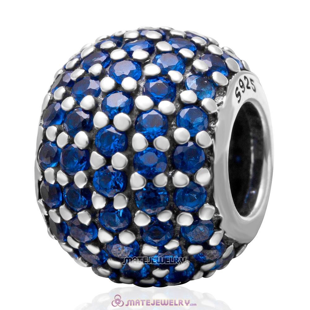 Blue Pave Lights with Lt Sapphire CZ Charm 925 Sterling Silver Bead