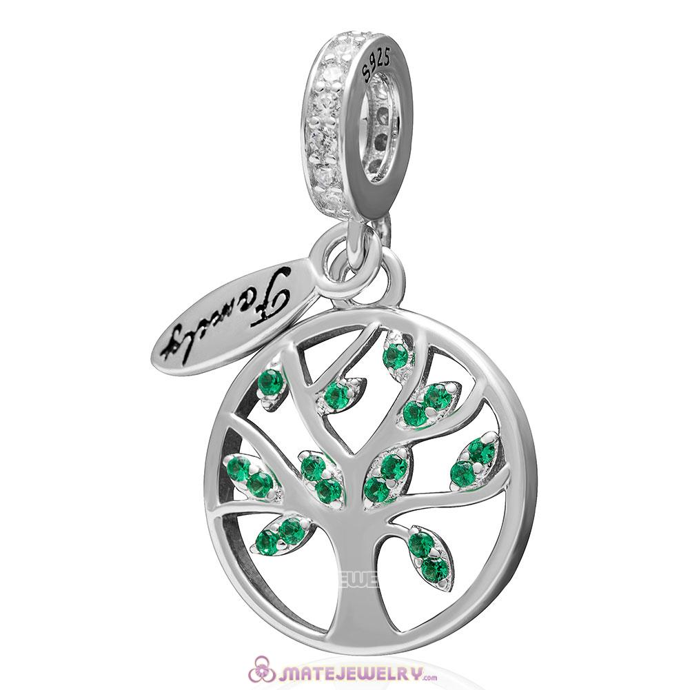 Family Tree Dangle with Green CZ Charm 925 Sterling Silver