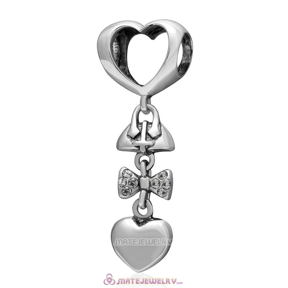 Fashionably Tied 925 Sterling Silver Clear Australian Crystals Charm