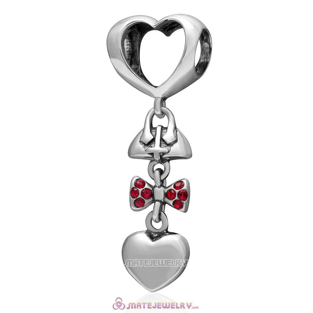 Fashionably Tied 925 Sterling Silver Lt Siam Australian Crystals Charm