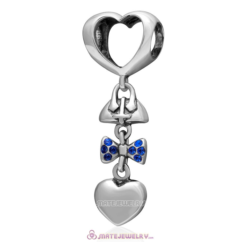 Fashionably Tied 925 Sterling Silver Sapphire Australian Crystals Charm