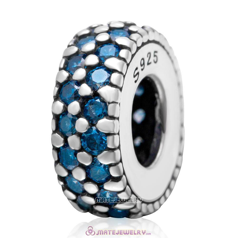 Inspiration Within with Aquamarine CZ Spacer Bead 925 Sterling Silver