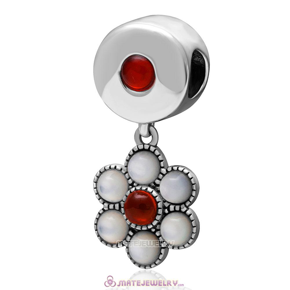 Dangle 925 Sterling Silver Red Agate Flower Charm