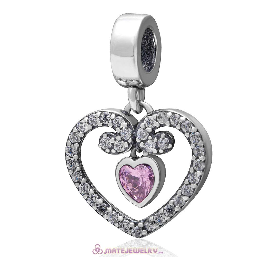 Radiant Heart Dangle 925 Sterling Silver Clear and Pink Stone Charm