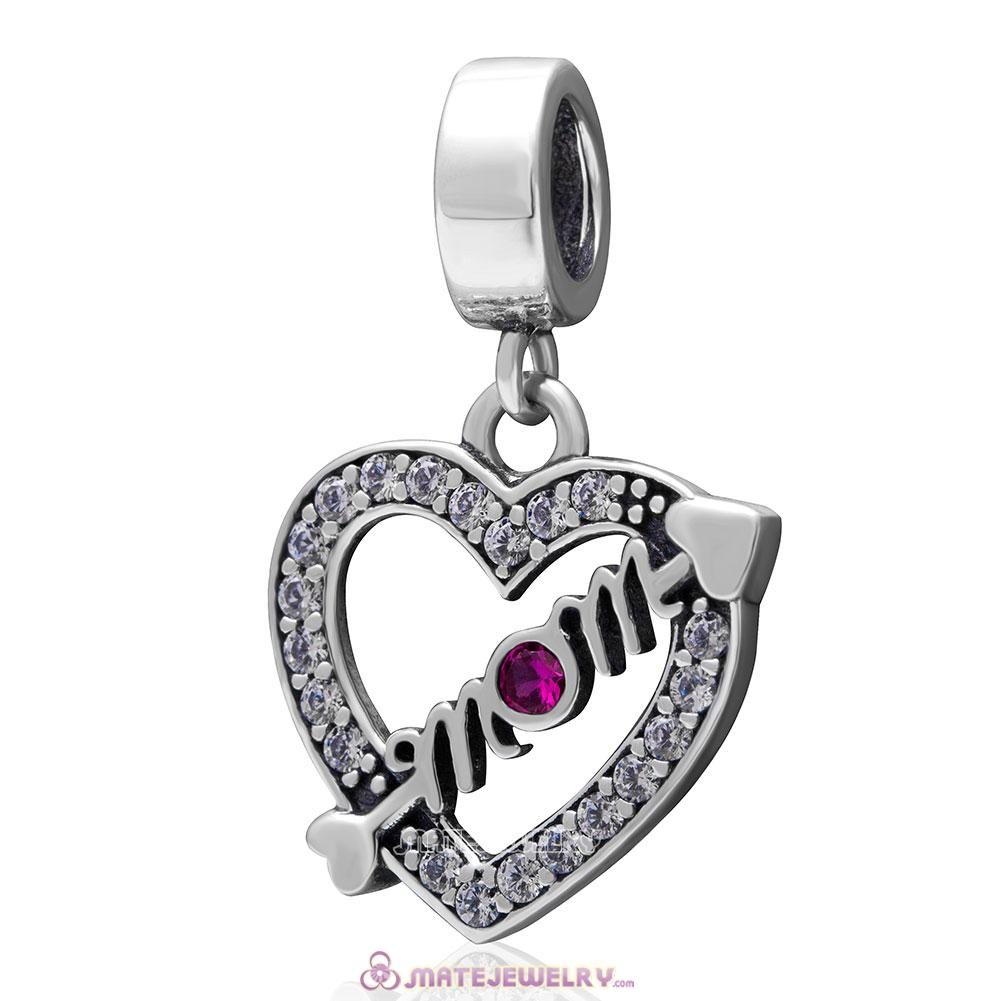 Arrow Heart Love Mom Dangle 925 Sterling Silver Clear and Fuchsia Stone Charm