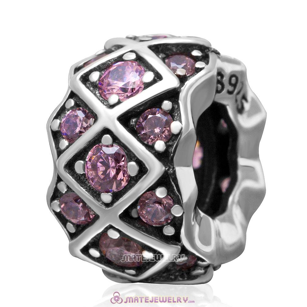 925 Sterling Silver Grid with Pink Stone Charm Bead