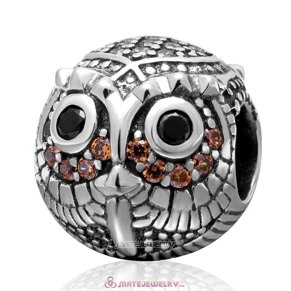 Wise Owl Charm 925 Sterling Silver Bead with Stone