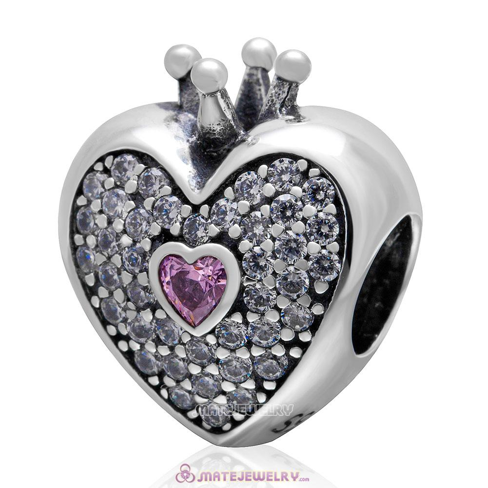 Heart with Crown Charm 925 Sterling Silver Pink Stone Bead