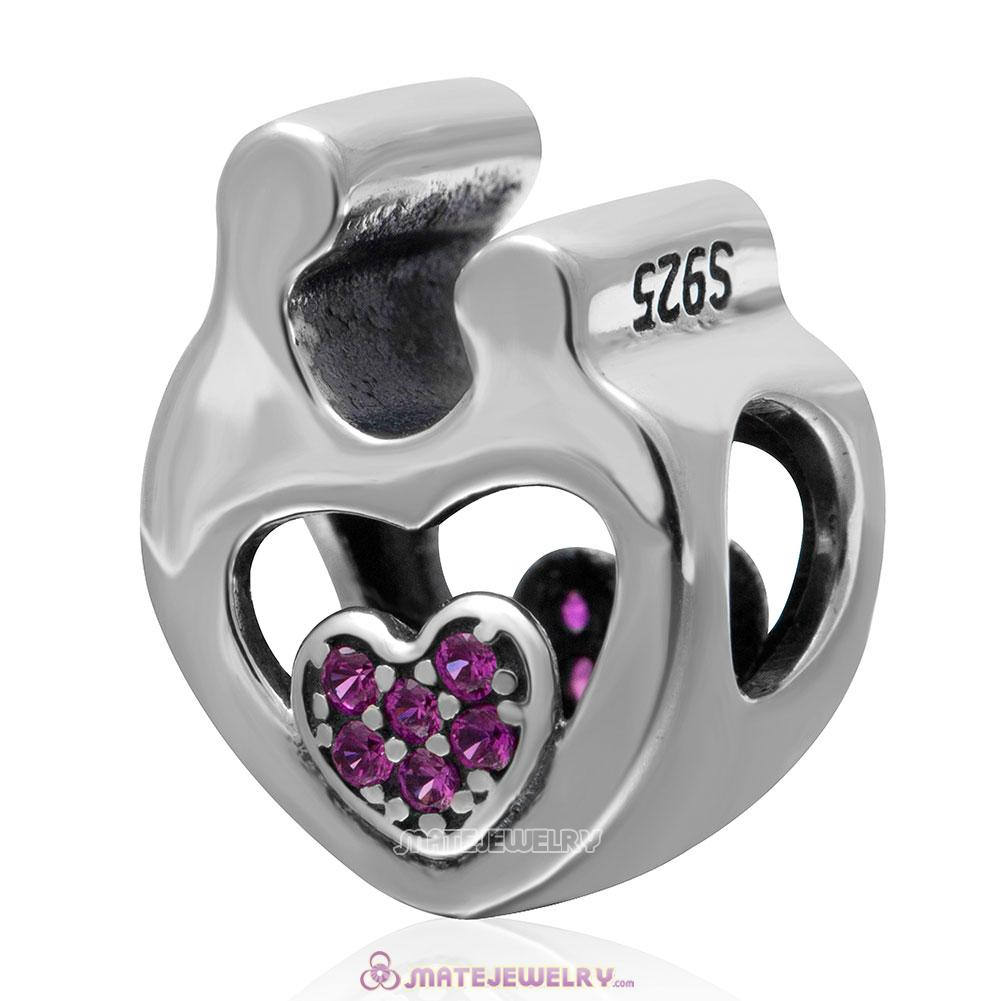 Mother Child Love Charm 925 Sterling Silver Fuchsia Stone Bead