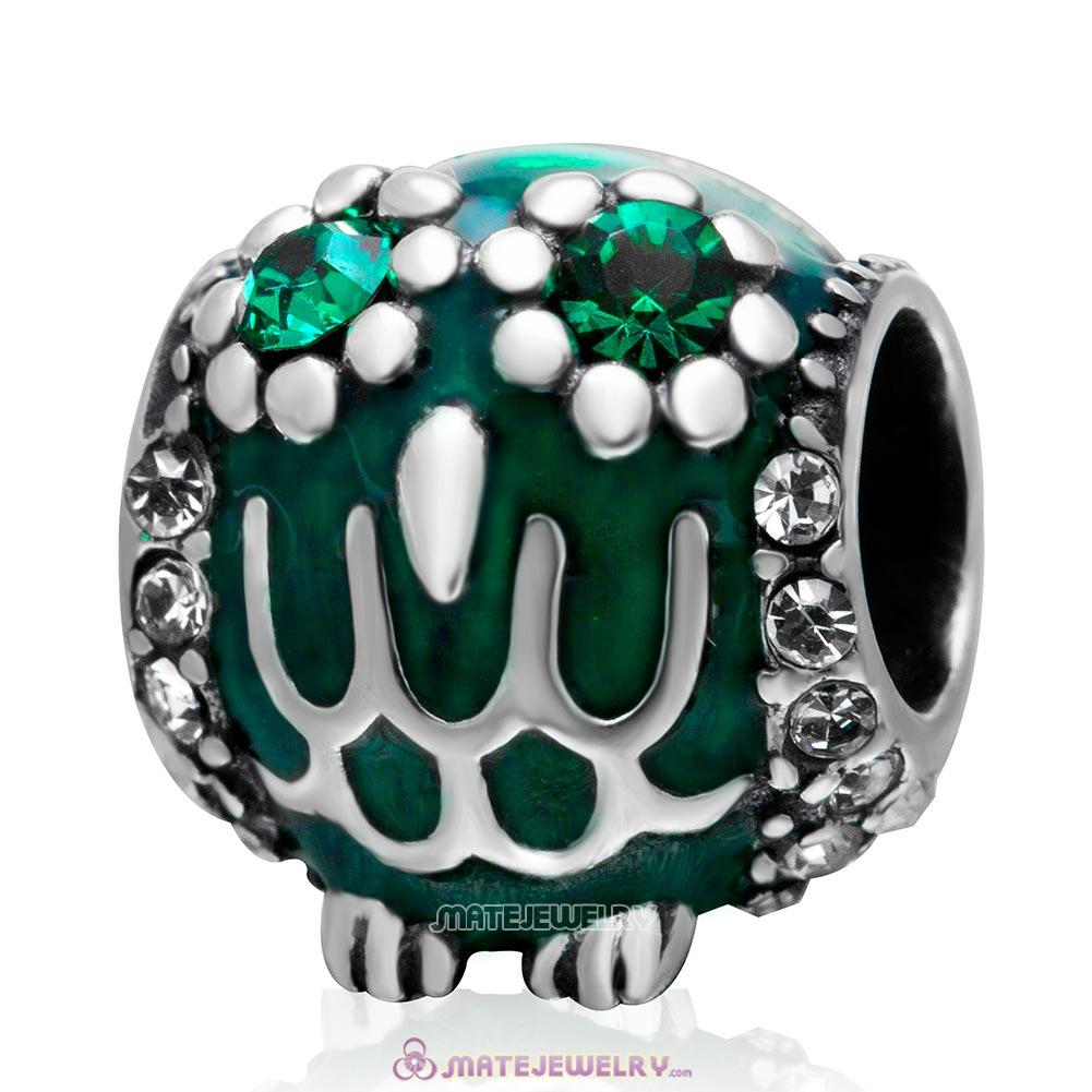Antique Owl Charm 925 Sterling Silver Bead with Emerald Crystal and Enamel