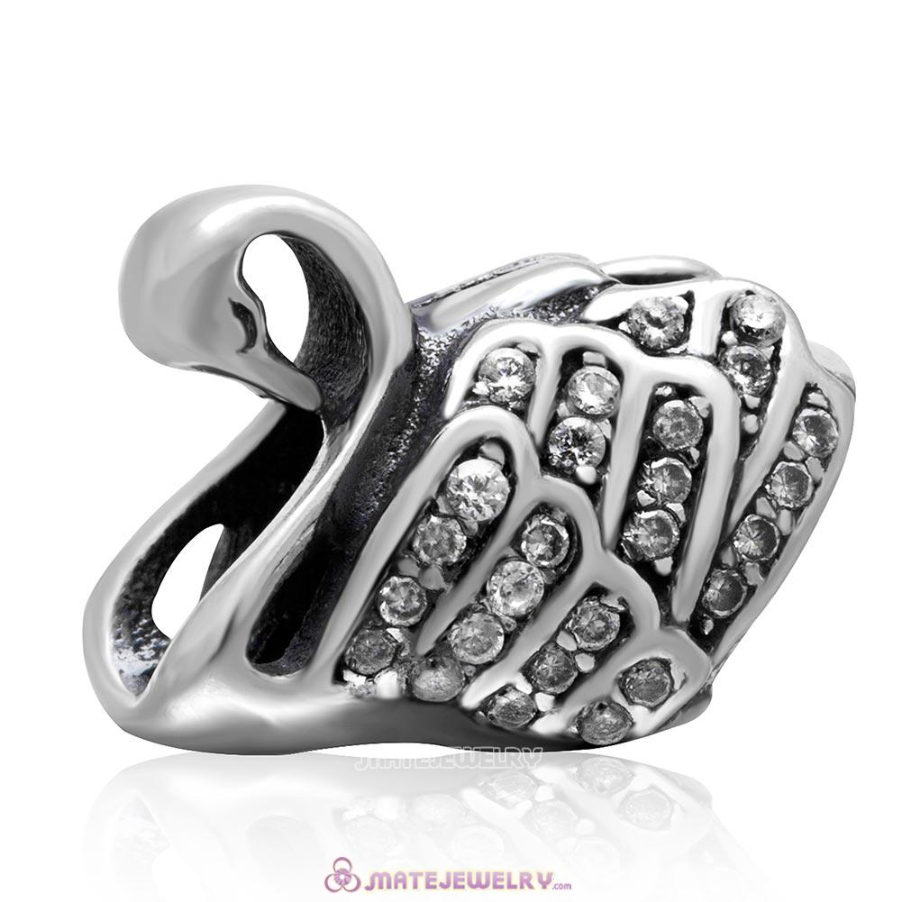 Majestic Swan Charm 925 Sterling Silver Cubic Zirconia Bead