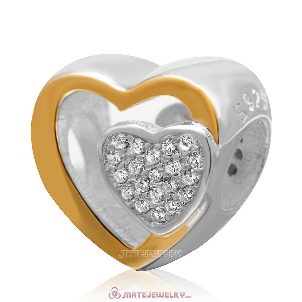 Joined Together Heart Charm 925 Sterling Silver Cubic Zirconia and Gold Plated Bead