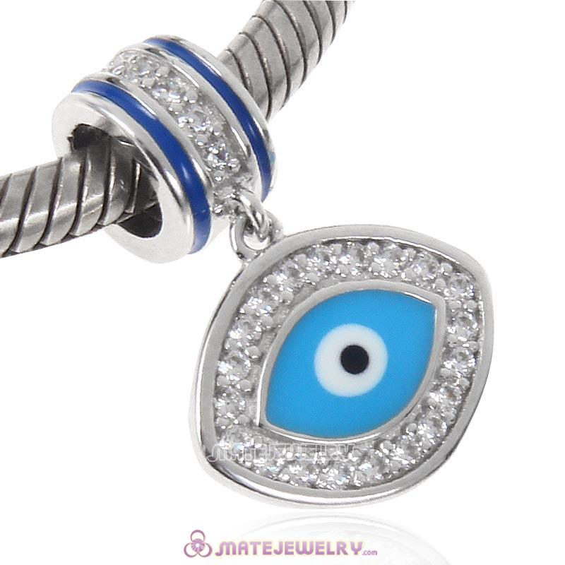 Blue Evil Eye Charm 925 Sterling Silver