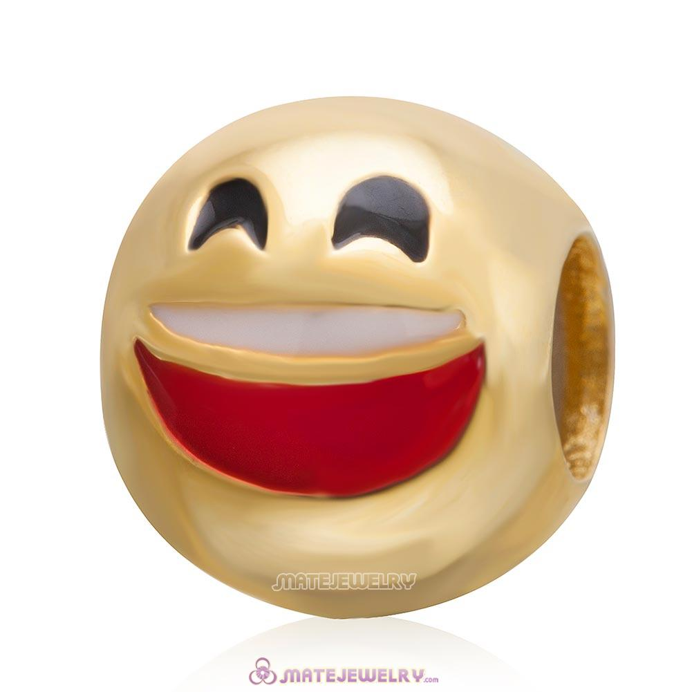 Gold Plated Emoji Laugh Sterling Silver European Style Face Beads