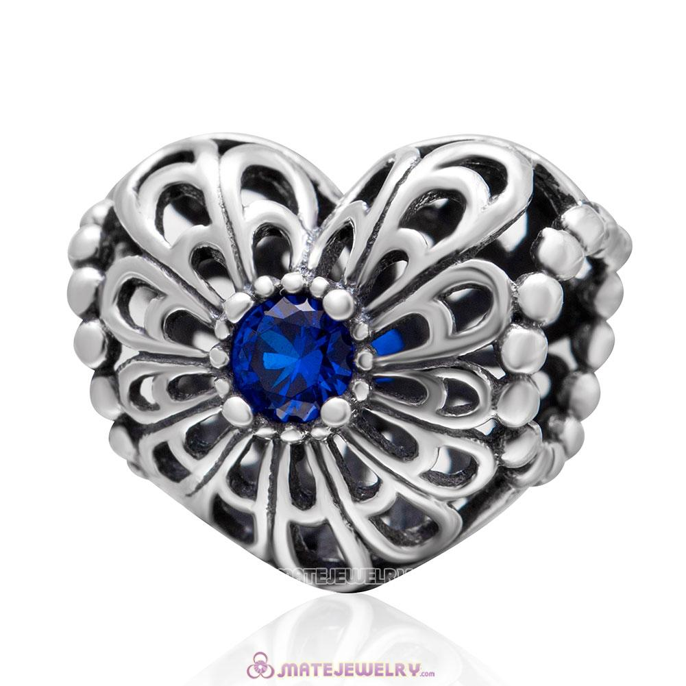 Open your Heart Charm with Blue Stone