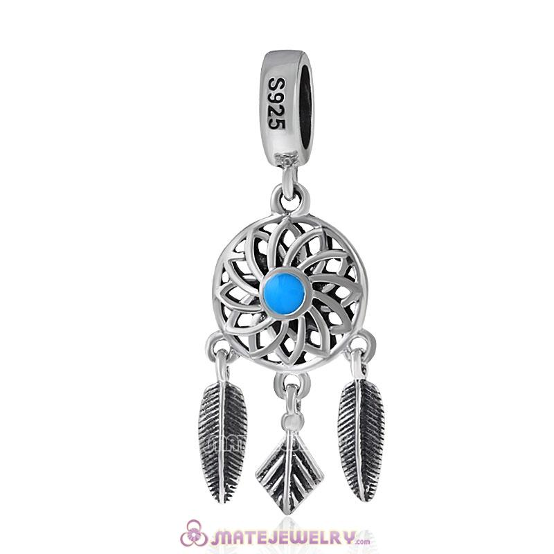 Dreamcatcher with Enamel Antique Sterling Silver Charms