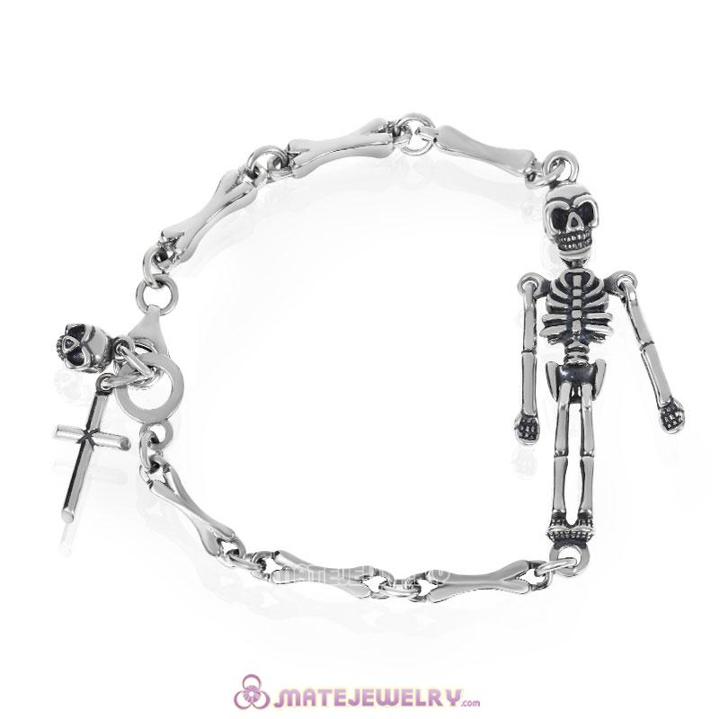Sterling Silver Terrible Skeleton Bracelet