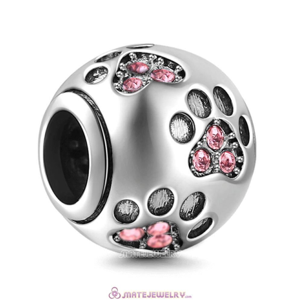 Pink Crystal Paw Prints Charms Beads
