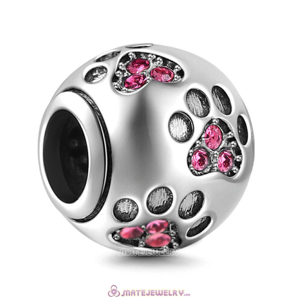 Rose Crystal Paw Prints Charms Beads
