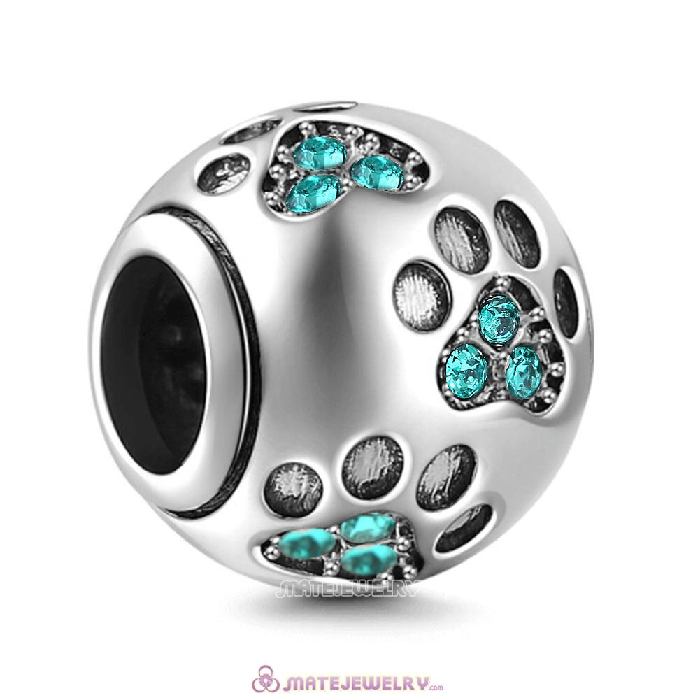 Blue Zircon Crystal Paw Prints Charms Beads