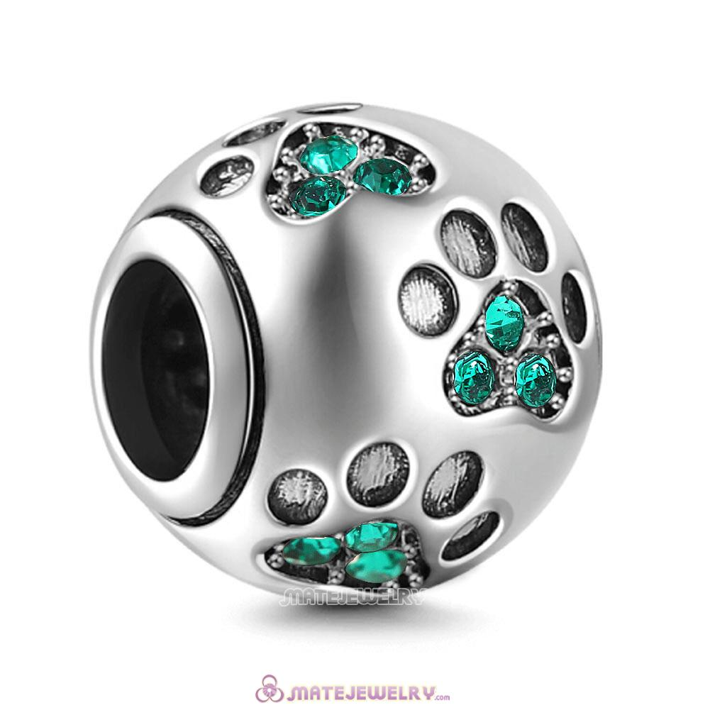 Emerald Crystal Paw Prints Charms Beads