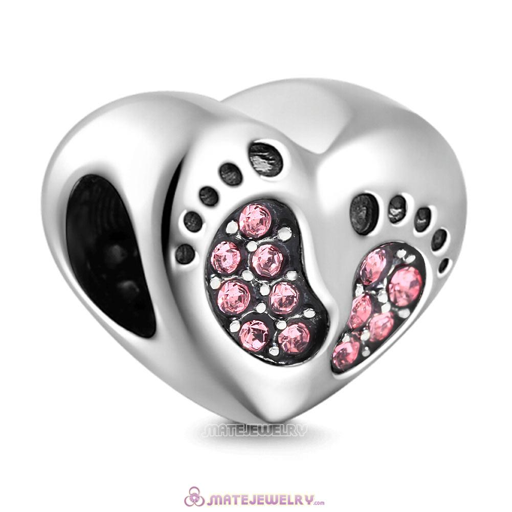 Pink Crystal Baby Footprint Heart Charms Beads