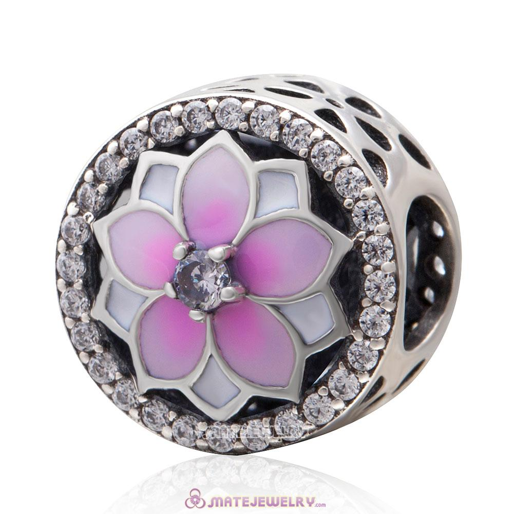 Magnolia Flower Pink Enamel Charms with Clear CZ
