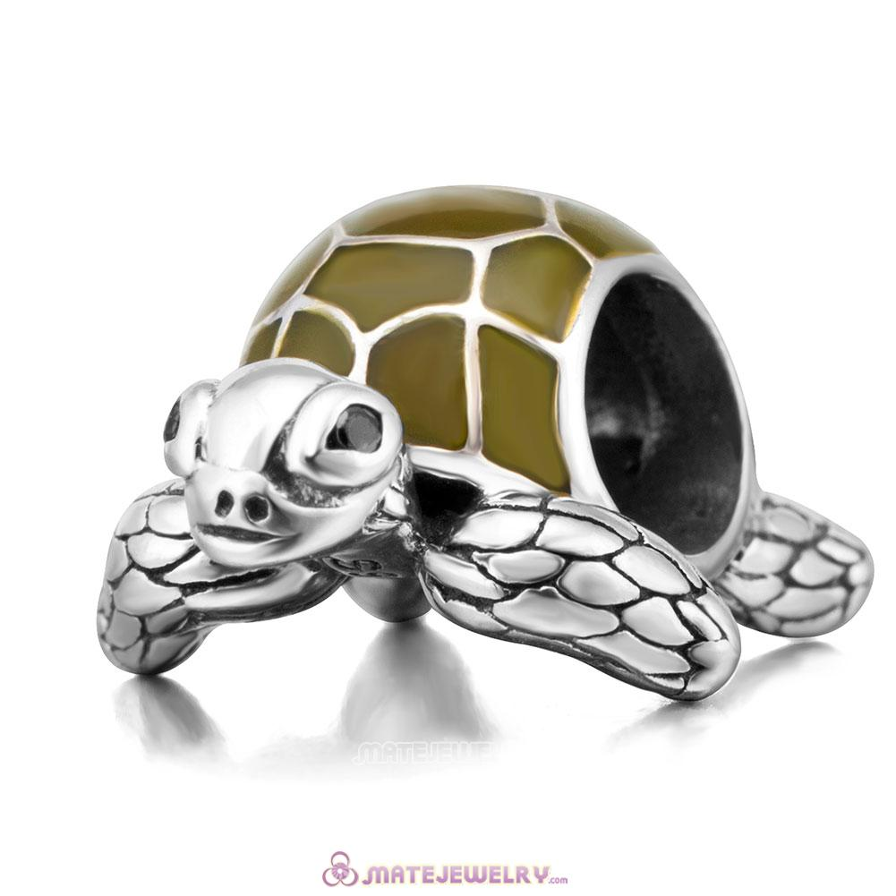 Ocean Turtle Sterling Silver Enamel Charms Beads