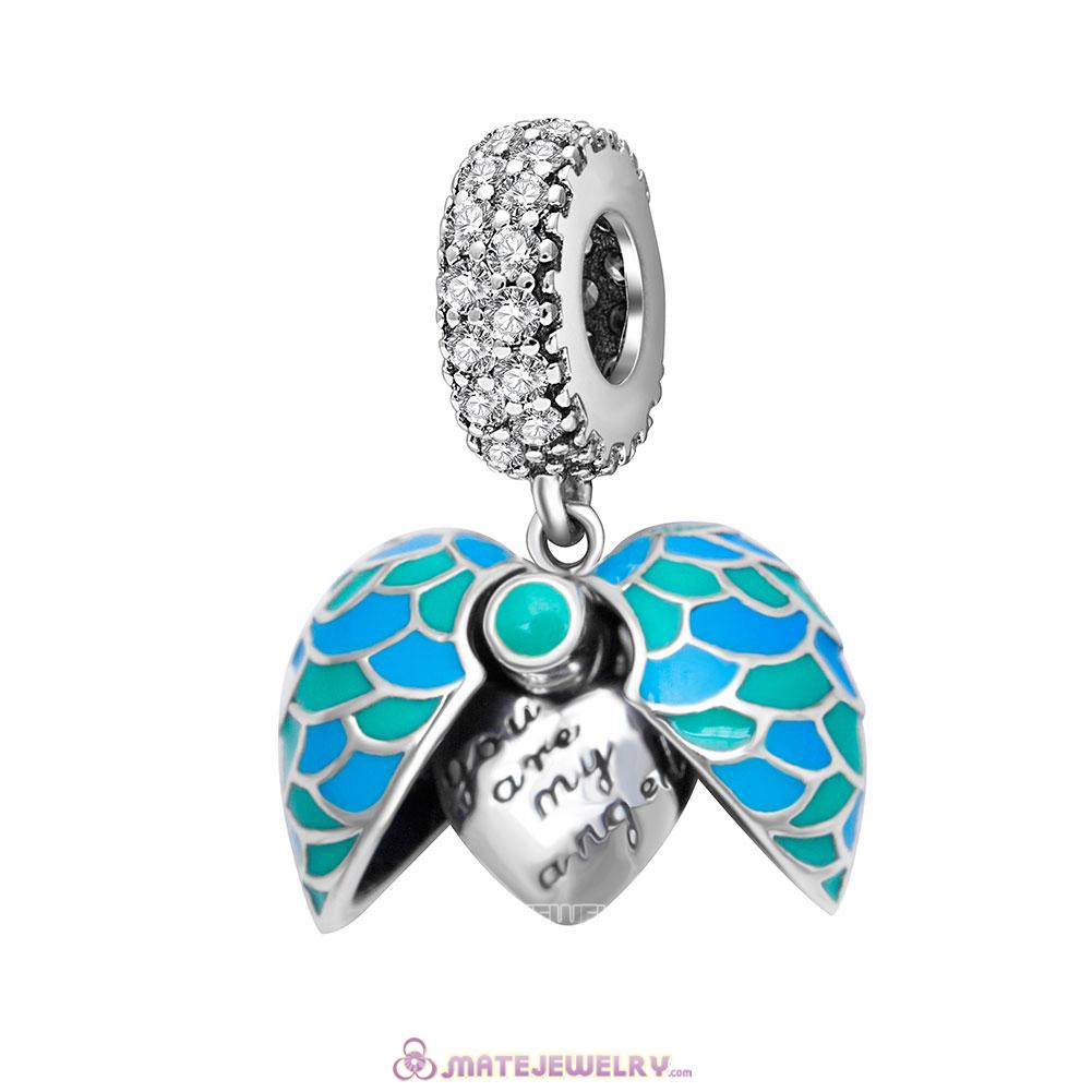Angel Feather Heart Charms Pendant with Blue Enamel