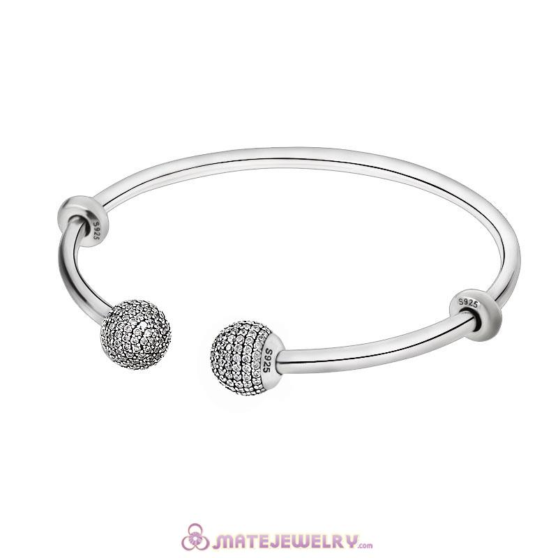 Adjustable Open Bangle 925 Sterling Silver with Gemstone Ball