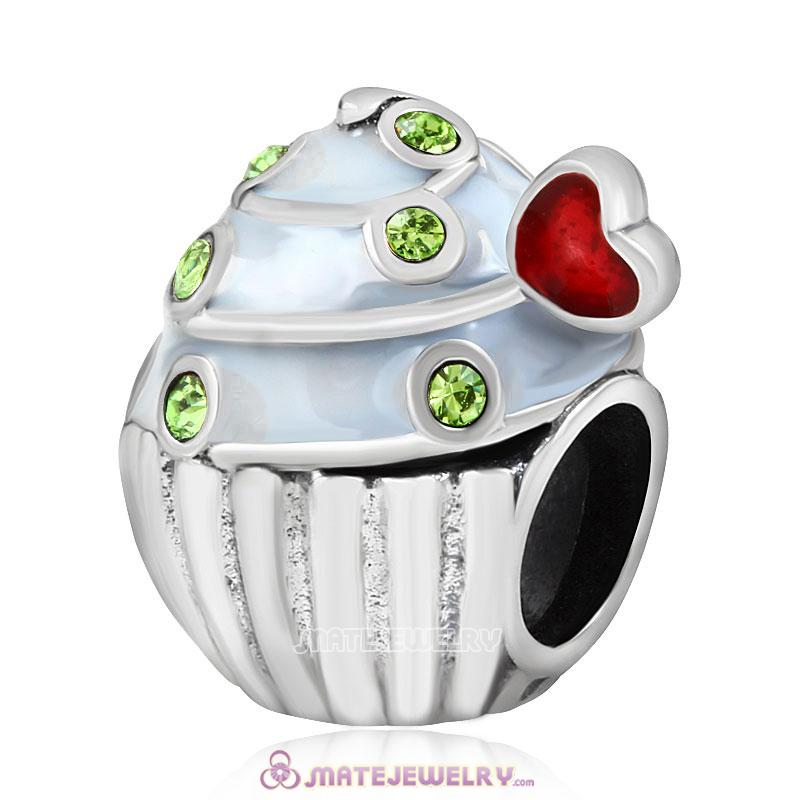 Sweet Cupcake Charm Sterling Silver Bead with Peridot Austrian Crystal