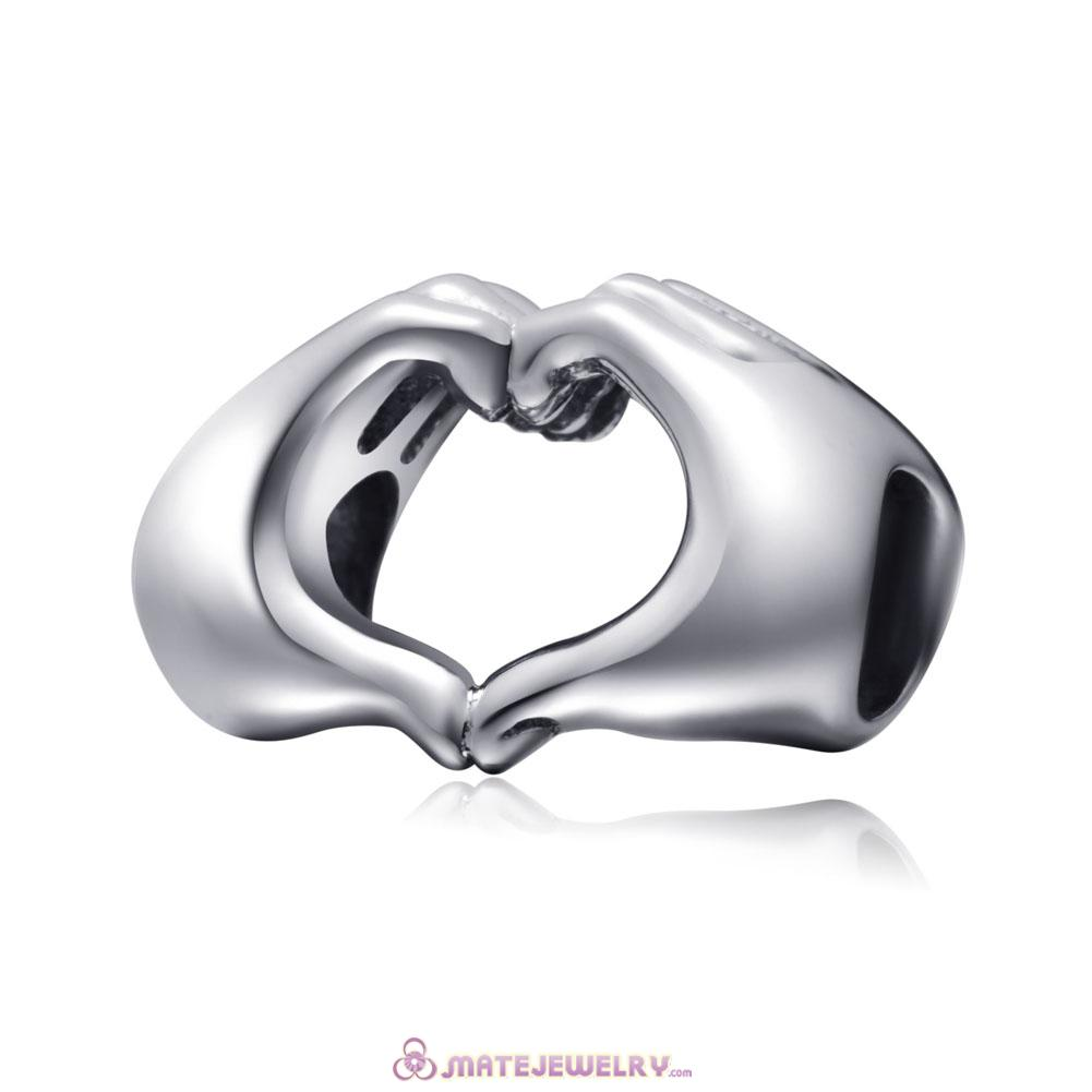 925 Sterling Silver Fingers with Hearts Charms Beads