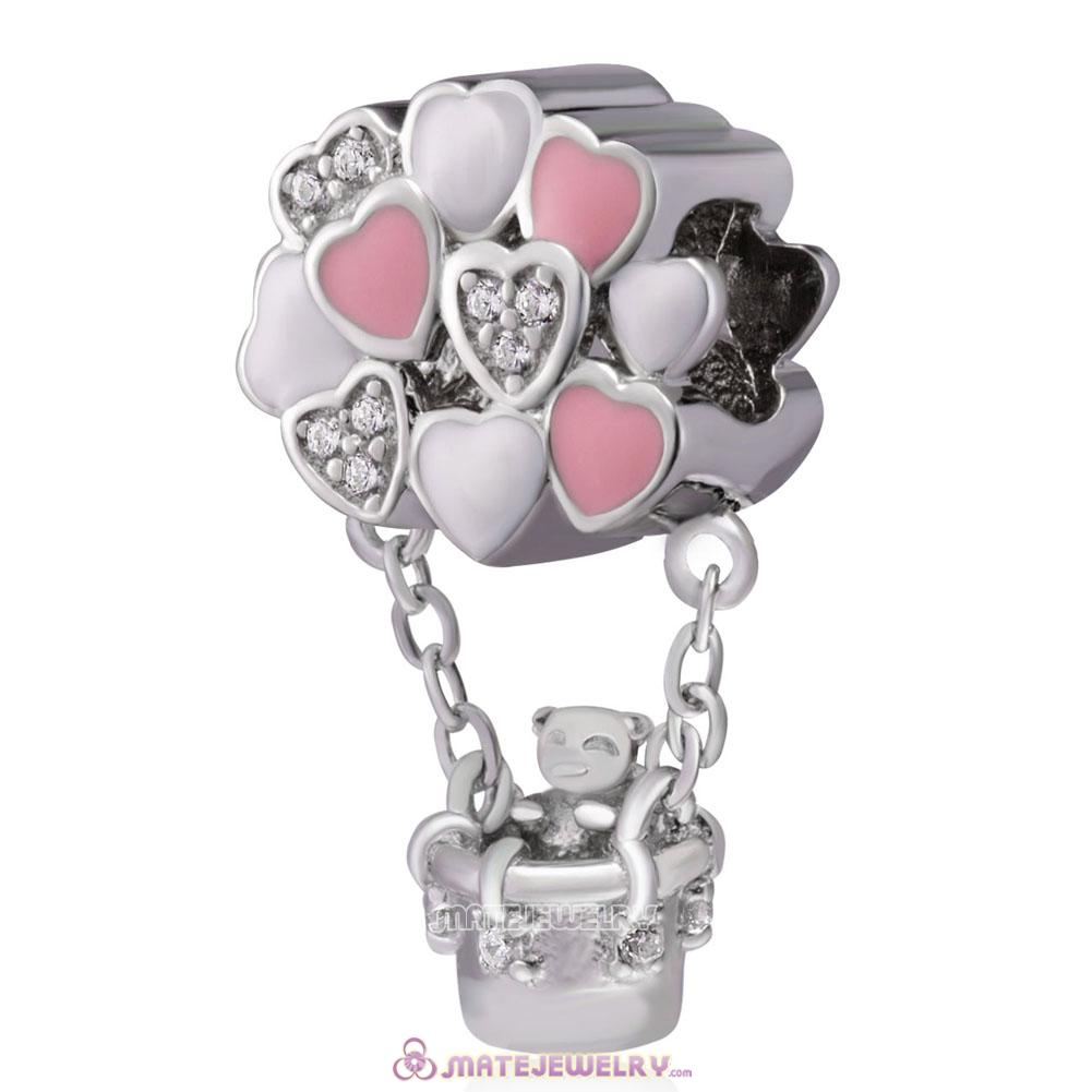 925 Sterling Silver Bear Love Hot Air Balloon Charms Beads