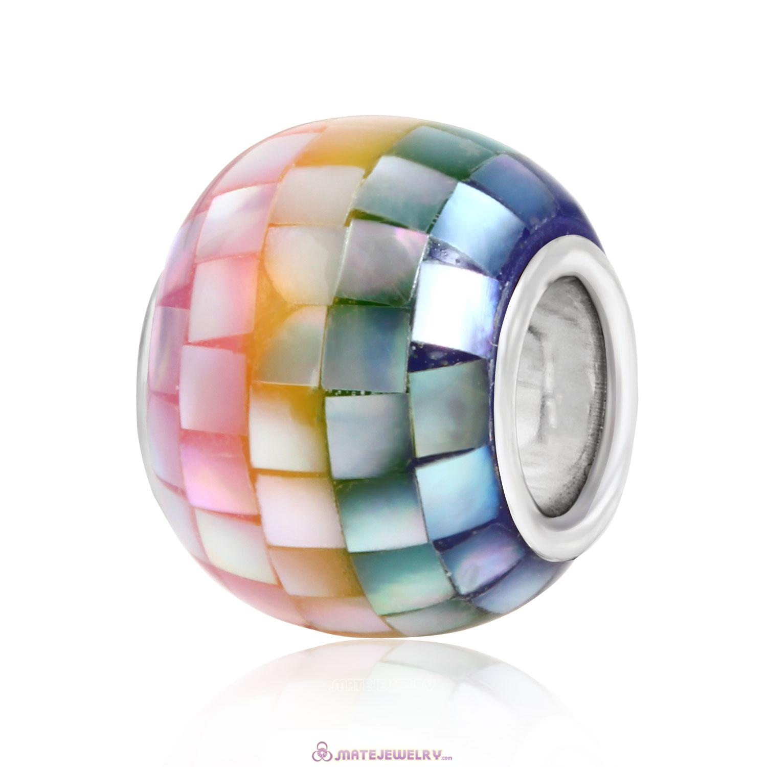 925 Sterling Silver Core Mosaic Charm Beads