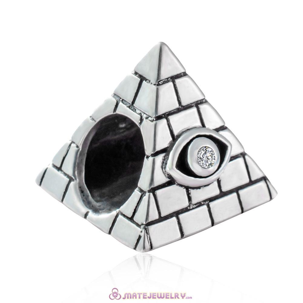 925 Sterling Silver Egyptian Pyramid Charms Beads