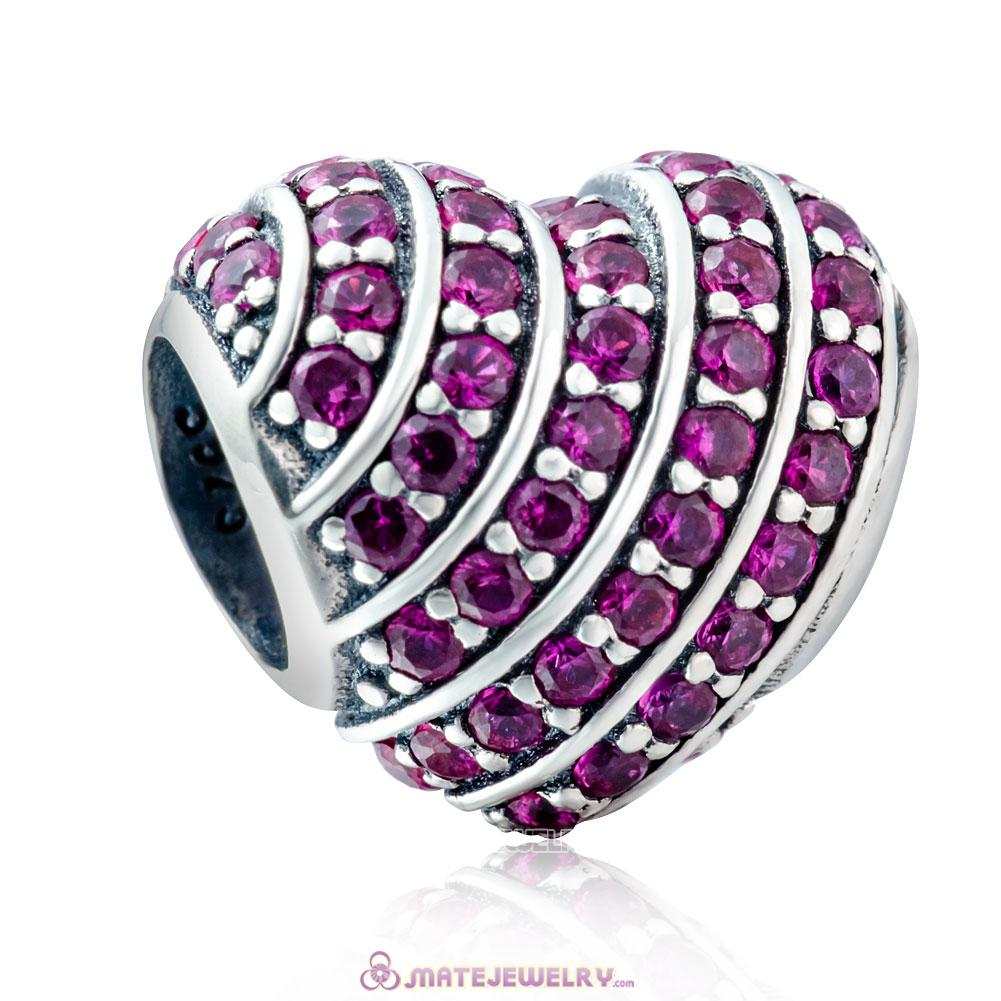 925 Sterling Silver Pave Heart Charm with Fuchsia Zirconia