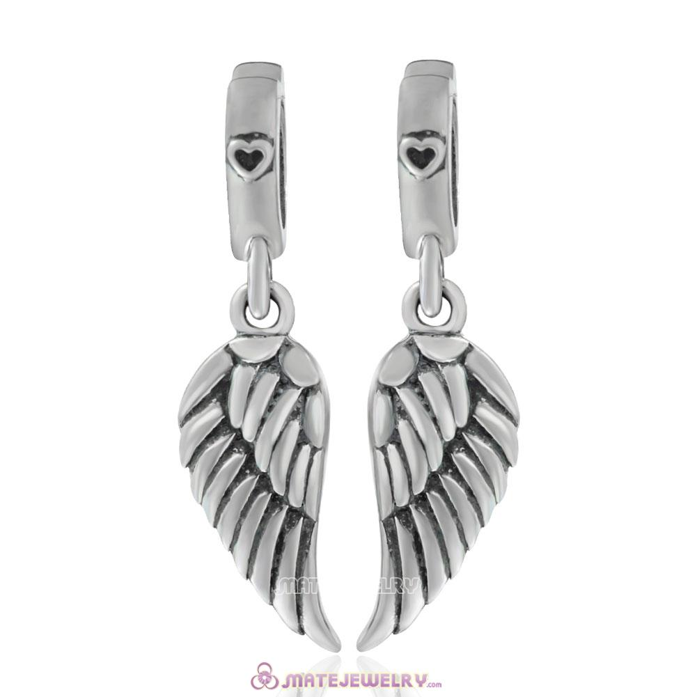 925 Sterling Silver Angel Wings Charm Set