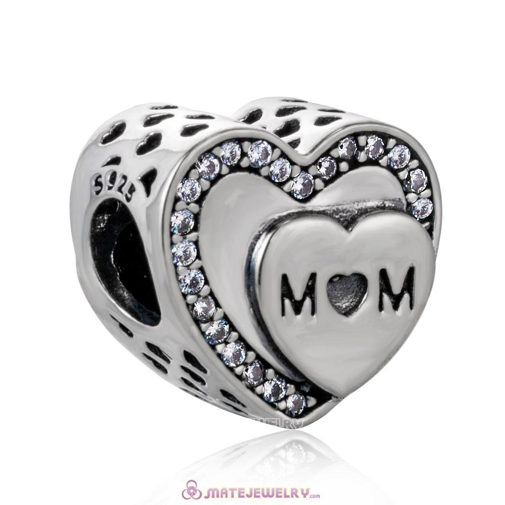 Tribute to Mom with White Zircon Charm Beads