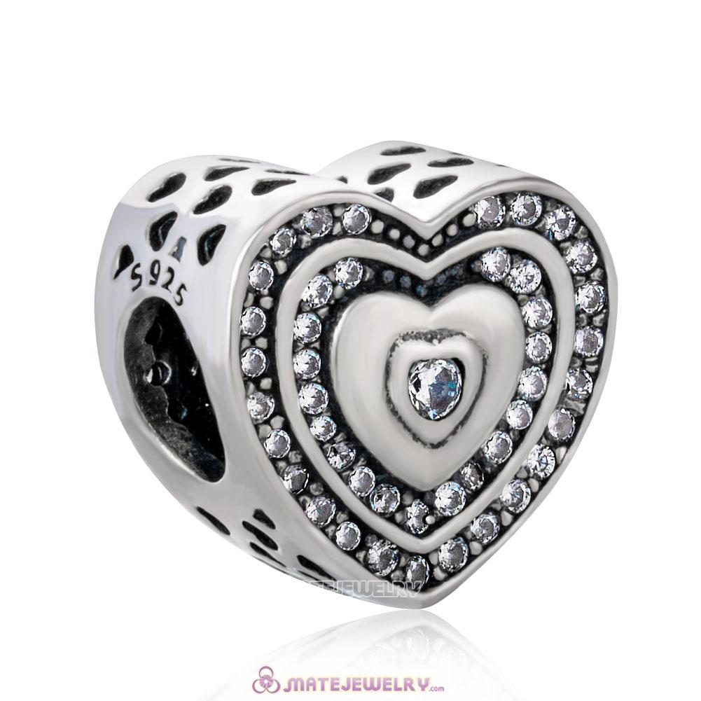 Lavish Heart Charm with White Zircon Beads