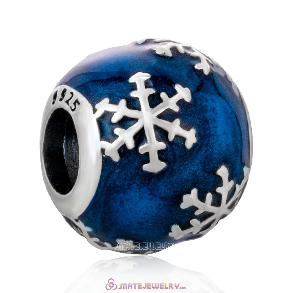 Christmas Snowflake with Blue Enamel Charm